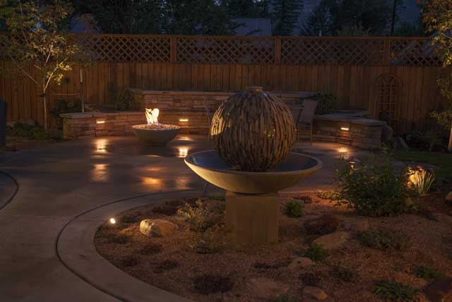 up lighting on water feature bench seat lighting and path lighting bench lighting
